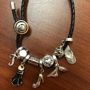 Persona Fashion Theme Leather Bracelet w/9 charms